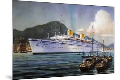 Victoria Motor Ship in Hong Kong Harbor, Pastel on Paper, by Paul Klodic, 20th Century--Mounted Giclee Print