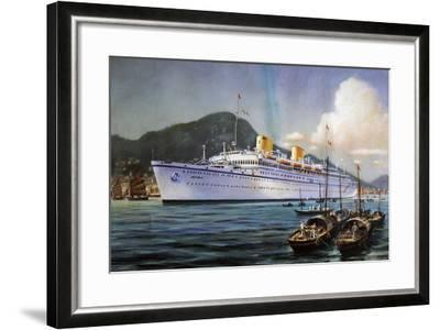 Victoria Motor Ship in Hong Kong Harbor, Pastel on Paper, by Paul Klodic, 20th Century--Framed Giclee Print