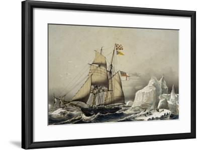 English Barquentine Schooner Rounding Quay, Colour Lithograph by Louis Lebreton, 19th Century--Framed Giclee Print