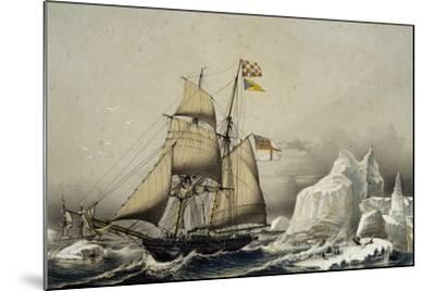 English Barquentine Schooner Rounding Quay, Colour Lithograph by Louis Lebreton, 19th Century--Mounted Giclee Print