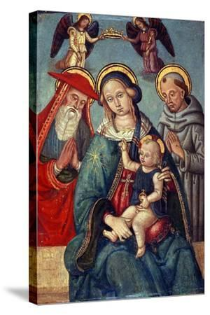 Madonna and Child Being Crowned by Two Angels, with St. Jerome and St. Francis, C.1500--Stretched Canvas Print