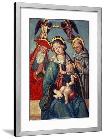 Madonna and Child Being Crowned by Two Angels, with St. Jerome and St. Francis, C.1500--Framed Giclee Print