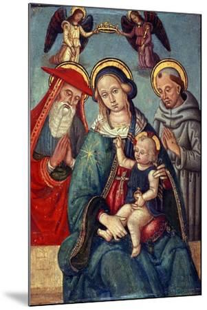Madonna and Child Being Crowned by Two Angels, with St. Jerome and St. Francis, C.1500--Mounted Giclee Print