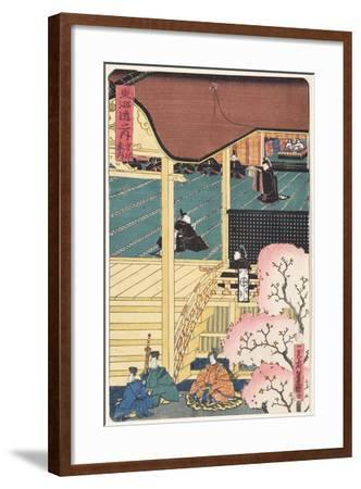 Warlord at Court, Three Samurai Warrior with an Attendant Approaching the Palace, C.1500--Framed Giclee Print