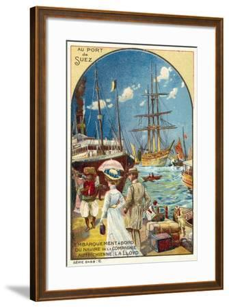Passengers Boarding a Ship of the Austrian Lloyd Line at the Port of Suez, Egypt--Framed Giclee Print
