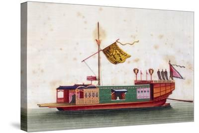 Boat from Eastern Seas of China, Painted on Silk by Unknown Artist, 19th Century--Stretched Canvas Print