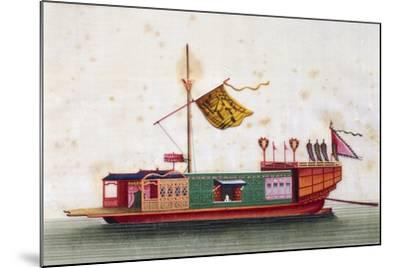 Boat from Eastern Seas of China, Painted on Silk by Unknown Artist, 19th Century--Mounted Giclee Print