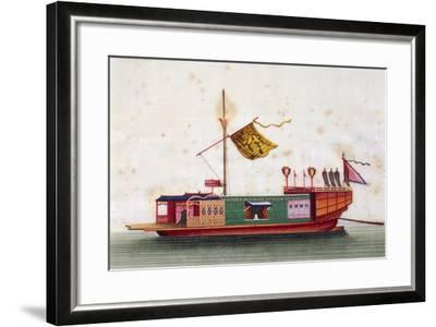 Boat from Eastern Seas of China, Painted on Silk by Unknown Artist, 19th Century--Framed Giclee Print