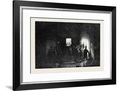 The Britannia Tubular Bridge: Interior of the Tube, Mr. Stephenson Driving the Last Rivet--Framed Giclee Print