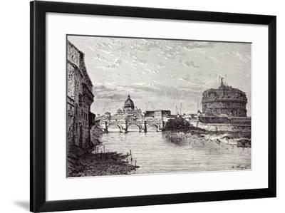 Rome Italy 1875 Mole of Adrian Banks of the Tiber Between Ripetta and the Bridge Od St. Angelo--Framed Giclee Print