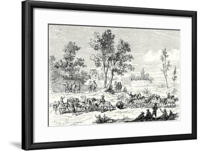 Otto Von Guericke Conducts the Experiment of the Magdeburg Hemispheres with 24 Horses--Framed Giclee Print