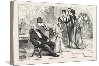Winning the Gloves. 1876, Man, Ladies, Interior, Sleeping, Gathering--Stretched Canvas Print