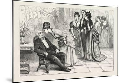 Winning the Gloves. 1876, Man, Ladies, Interior, Sleeping, Gathering--Mounted Giclee Print