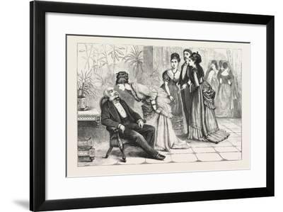 Winning the Gloves. 1876, Man, Ladies, Interior, Sleeping, Gathering--Framed Giclee Print
