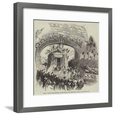 Great Whig Mass Meeting at New York, the Procession Passing the Gothic Hall--Framed Giclee Print