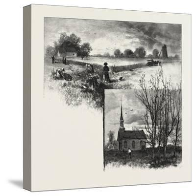 Manitoba: a Half-Breed Farm (Top), Kildonan Church (Bottom), Canada, Nineteenth Century--Stretched Canvas Print