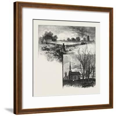 Manitoba: a Half-Breed Farm (Top), Kildonan Church (Bottom), Canada, Nineteenth Century--Framed Giclee Print