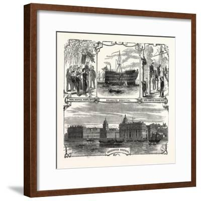 England's Refuge for the Defenders of Her Wooden Walls. Greenwich Hospital. London, Uk--Framed Giclee Print