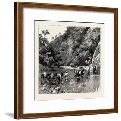 The Chin Lushai Expeditionary Force, a Mule Convoy Crossing the Loung Gut Choung Stream, 1890--Framed Giclee Print