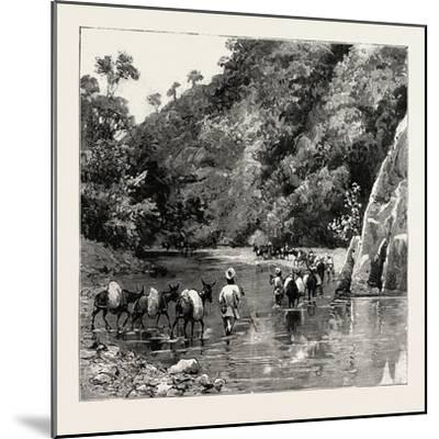 The Chin Lushai Expeditionary Force, a Mule Convoy Crossing the Loung Gut Choung Stream, 1890--Mounted Giclee Print