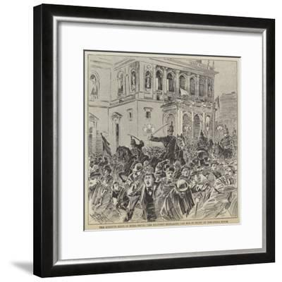The Kossuth Riots in Buda-Pesth, the Military Dispersing the Mob in Front of the Opera House--Framed Giclee Print