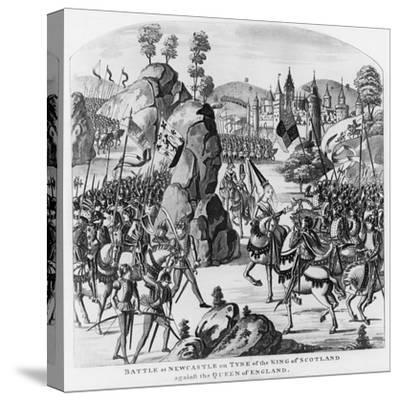 Battle at Newcastle-Upon-Tyne of the King of Scotland and Matilda, Queen of England Against Stephen--Stretched Canvas Print
