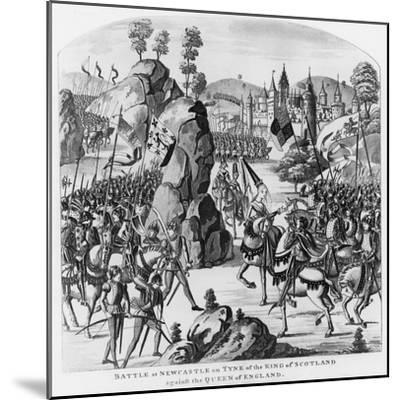 Battle at Newcastle-Upon-Tyne of the King of Scotland and Matilda, Queen of England Against Stephen--Mounted Giclee Print