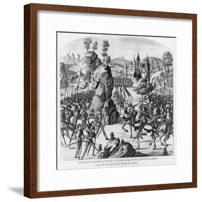 Battle at Newcastle-Upon-Tyne of the King of Scotland and Matilda, Queen of England Against Stephen--Framed Giclee Print