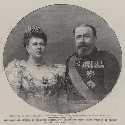 The Duke and Duchess of Saxe-Coburg-Gotha, Who Celebrated their Silver Wedding on Monday--Framed Giclee Print