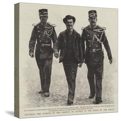Luccheni, the Assassin of the Empress of Austria, in the Hands of the Police--Stretched Canvas Print