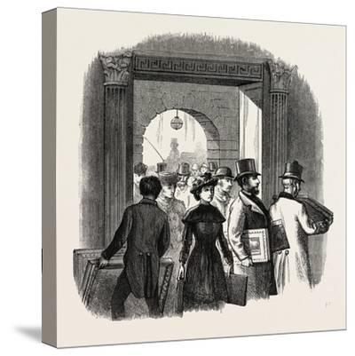 The Royal Academy: the Entrance from the Quadrangle of Burlington House: Taking in In the Hall. Uk--Stretched Canvas Print