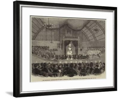 The Shakespeare Commemoration in London, Unveiling a Bust of Shakespeare at the Agricultural Hall--Framed Giclee Print