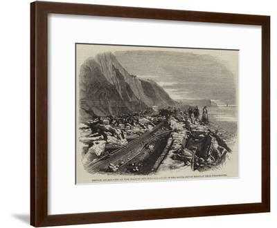 Injury Occasioned by the Gale of 25 October to a Portion of the South Devon Railway Near Teignmouth--Framed Giclee Print