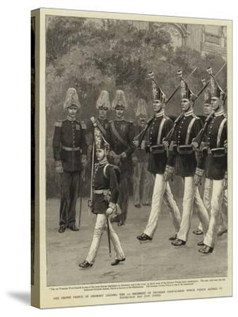 The Crown Prince of Germany Leading the 1st Regiment of Prussian Foot-Guards Which Prince Alfred of--Stretched Canvas Print