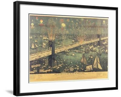 Bird'S-Eye View of the Great New York and Brooklyn Bridge and the Grand Display of Fireworks on Ope--Framed Giclee Print