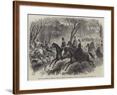 Visit of the Prince and Princess of Wales to Trentham, Staffordshire, the Meet at Barlaston Hall--Framed Giclee Print