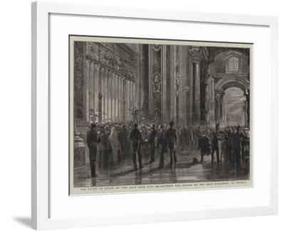 The Lying in State of the Late Pope Pius Ix, Outside the Chapel of the Holy Sacrament, St Peter'S--Framed Giclee Print