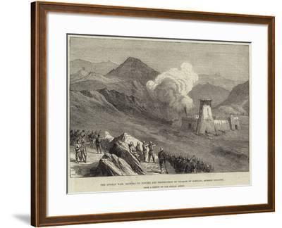 The Afghan War, Blowing Up Towers and Destruction of Village of Kassaba, Afreedi Country--Framed Giclee Print