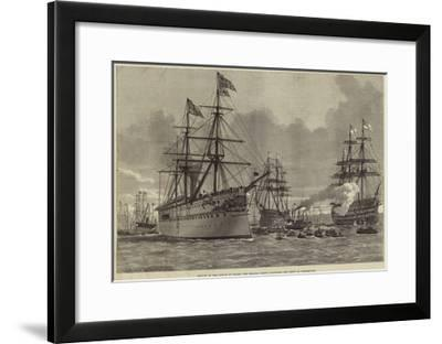 Return of the Prince of Wales, the Serapis Coming Alongside the Jetty at Portsmouth--Framed Giclee Print