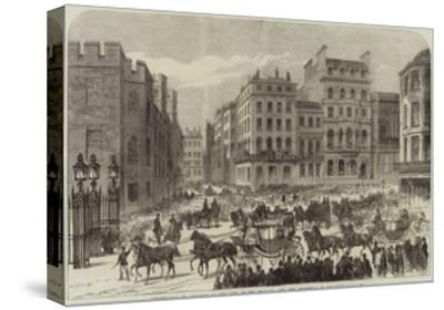 Presentation of Addresses to the King of the Belgians, the City Procession in Pall-Mall--Stretched Canvas Print