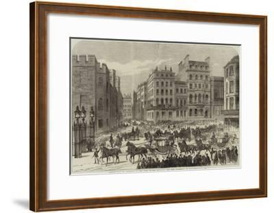 Presentation of Addresses to the King of the Belgians, the City Procession in Pall-Mall--Framed Giclee Print