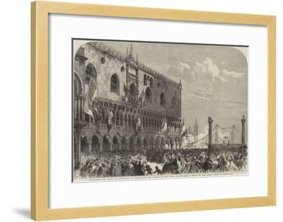 Proclaiming the Result of the Voting at Venice from the Balcony of the Doge's Palace--Framed Giclee Print