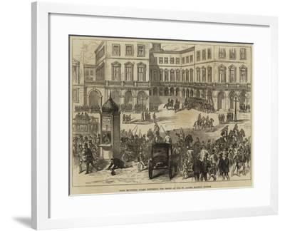 Paris Municipal Guard Dispersing the Crowd at the St Lazare Railway Station--Framed Giclee Print