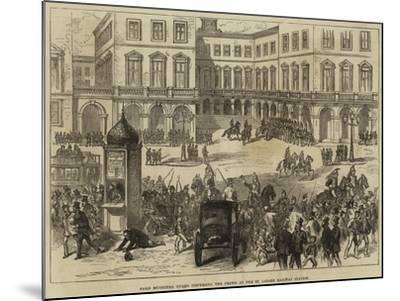 Paris Municipal Guard Dispersing the Crowd at the St Lazare Railway Station--Mounted Giclee Print