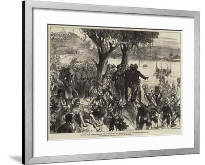 The Zulu War, Troops Crossing the Tugela under the Inspection of Lord Chelmsford--Framed Giclee Print
