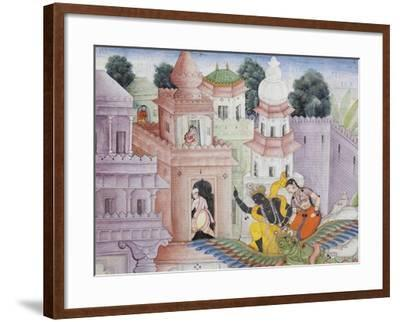 Detail from Krishna Cleaves the Demon Narakasura with His Discus, C.1585-90--Framed Giclee Print