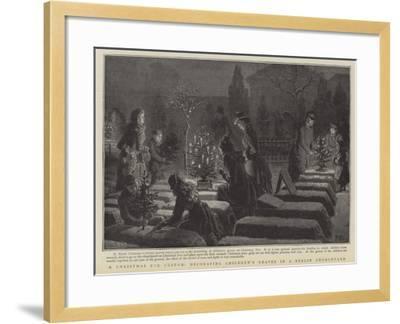 A Christmas Eve Custom, Decorating Children's Graves in a Berlin Graveyard--Framed Giclee Print