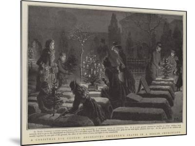 A Christmas Eve Custom, Decorating Children's Graves in a Berlin Graveyard--Mounted Giclee Print