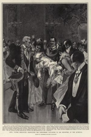 King Victor Emmanuel Presenting His Newly-Born Daughter to His Ministers at the Quirinal--Stretched Canvas Print