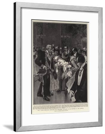 King Victor Emmanuel Presenting His Newly-Born Daughter to His Ministers at the Quirinal--Framed Giclee Print